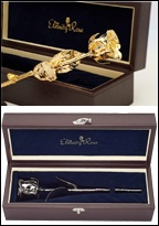 Gift Ideas. 24 Karat Gold & Silver Dipped Natural Roses in Leather Display Case